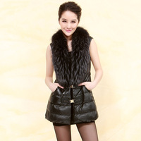 2013 autumn raccoon fur genuine leather female clothing outerwear down coat women's free shipping wholesale high quality
