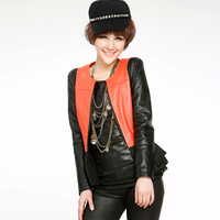 2013 chiffon sweep women's genuine leather clothing design short outerwear free shipping wholesale high quality