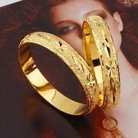 Luxury Wedding 24k Yellow Gold Filled GF Women's Cuff Laser Cut Bangle Bracelet Free shipping