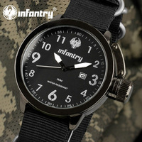 INFANTRY Men's Date Sport Black US Army Style Nylon Fabric Strap Quartz Wrist Watch NEW Outdoor Watches