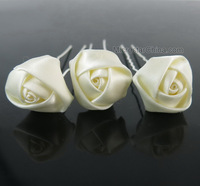 10pcs Mini Ivory Cream Rose  Hair Pins Wedding Bridal Ribbon Fabric Rose Hair Pins Free Shipping