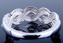 2015 Promotion Real Brand Latest Fashion Women Shape Bangles Aaa Machine Cutting Zirconia High Quality Propose