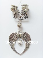 Free shipping , Zinc Alloy Wings Heart Charms Diy Jewelry Scarf Accessory Bails Tube Pendant Silver Color Hot Selling !