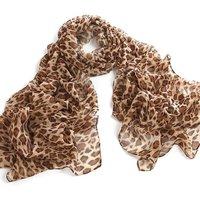 Leopard Animal Print 100% Silk Chiffon Scarf Wrap Stole Shawl