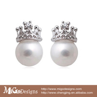 Classic Elegant Queen Crown Pearl Stud Earrings 925 Silver Brinco