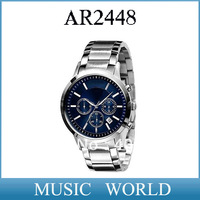 New AR2448 Quartz Chronograph mens AR 2448 Watch Japan Movement Stainless Steel Strap Gents Wristwatch + Original box