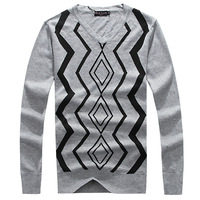 Free shipping 2013 male autumn and winter sweater paul casual slim V-neck 100% basic knitted cotton sweater