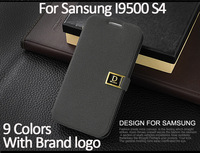 New!Leather Case with brand original logo for Samsung Galaxy S4 i9500 S 4 SIV Flip Stand Book with Card Holder Free shipping