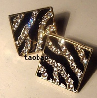 New arrival all-match brief exquisite accessories square diamond stripe black and white oil stud earring