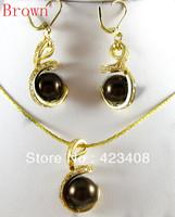 Fashion women jewelry sets 18K gold&silver plated Jade&Austrian crystal Pendant Necklace Earrings Bracelet Beautiful Gifts AAA