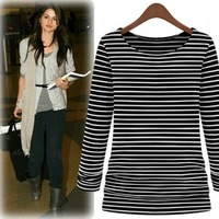 Fashion all-match 2013 slim stripe long-sleeve T-shirt women's thickening basic shirt