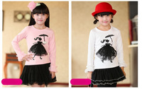 wholesale 5pcs/lot children clothing tops 3~8years new 2013 autumn solid lace fullsleeve cotton girl's T-shirts 8063