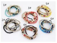 Bohemian style bracelet wholesale six colour bracelet&bangle for women (min order$15)