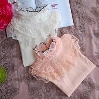 Medium-large clothing female child 2013 spring and autumn lace princess shirt t-shirt 100% cotton basic shirt top