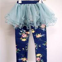 Children's clothing female child 2013 spring and autumn sweet egg skorts flower all-match 100% basic cotton skirt pants
