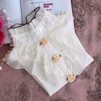Children's clothing medium-large female child 2013 spring and autumn sweet princess lace collar beaded long-sleeve T-shirt basic