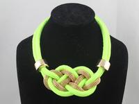 Fashion Korean Handmade Shining Colorful Rope Chain Chocker Necklace green .blue red