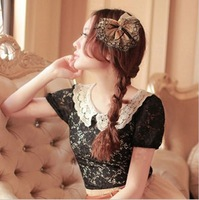 On Sales Free Shipping Fashion 2013 Tops For Women Shirts Lace Blouse Pullover With Floral Hollow-out Black S Plus Size L
