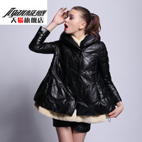 Otter 2013 rex rabbit hair slim genuine sheepskin leather down coat clothing female medium-long