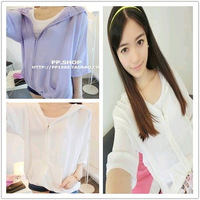 2013 autumn casual hooded coat sunscreen chiffon shirt air conditioning shirt 812