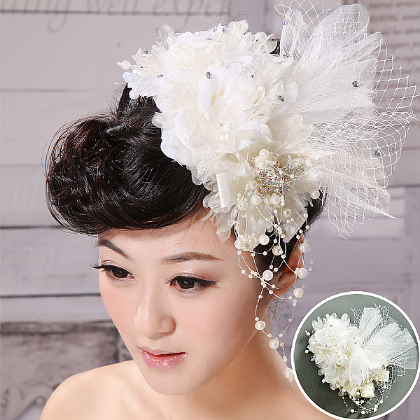 Free Shipping The bride hair accessory hair accessory white handmade flower feather pearl marriage accessories hair