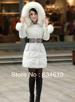 Winter Add thick  fashion medium-long down coat female outerwear slim down coat/ Warm down jacket for Woman