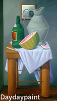 Museum Quality 100% Hand Painted Canvas Oil Painting Reproduction Fernando Botero Still Life Custom Size Available