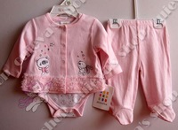 5pcs/lot (0-9M) Infant Baby Girls 3 pcs sets Pink Lace suit Kids outfit Lovely Coat Baby Romper + Coat+ pant Newborn 100% Cotto