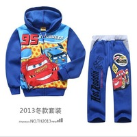 xlbb9 winter blue color cars design frozen boy coat + pants 2-7 age fleece warm kids clothes sets 5pcs/ lot free shipping