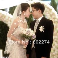 rhinestone long trailing lace bridal wedding dress veil