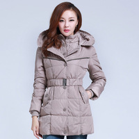 2013 winter new arrival down coat medium-long slim formal women's cap white duck down wear hot sale