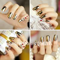 Gold fake nail 24pcs/Lot European and American fashion style metal nail patch Nail Beauty