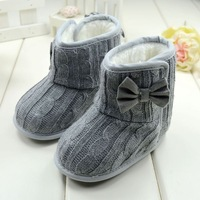 Free shipping winter 2013 gray bow warm plush baby snow boots lovely girls toddler shoes comfortable kids high quality boots