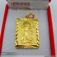 Male pendant lettering gold pendant Men 24k sand pendant
