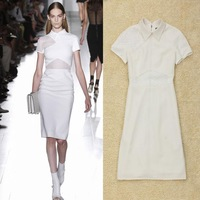 Free shipping 2013 New Fashion Women  victoria beckham Style elegant slim hip slim casual OL  knee-length XXL dress black white