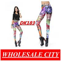 WHOLESALE Fashion Women Leggings Cartoon Comic Doodle Printed Leggings Super Elastic Pencil Jeans DK183