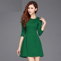 2014 new runway spring and summer fashion navy blue green solid color plus size one-piece dress S,M,L,XL