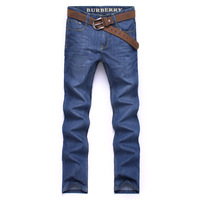 Spring and summer business casual personality high quality men's denim trousers straight male jeans