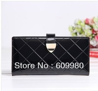 2013 New women's plaid wallets female long genuine leather wallet purse clutch bag free shipping