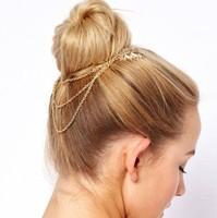 2014 Fashion New Arrive Hot Sale Hair Accessories Leaf Hair Combs Tassel Metal Chain Comb