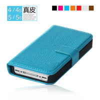Free shipping genuine leather wallet case for iphone 5 5s