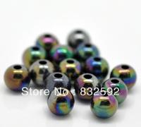 Free Shipping 200PCs 6mm Fashion Jewelry Beading AB Color Acrylic Iridescence Round Spacer Beads For Bracelet Making.