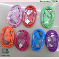 DHL Fedex Free Shipping 300pcs/Lots Wholesale Cheapest Colorful 4s 4g USB Cable Line For iPhone 4s 4 usb charger  line