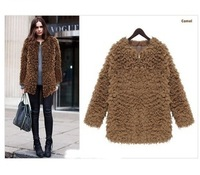 European style Glint Glossy Graceful Bright Hot 2013 Tops Women's Fashion Winter Warmer Lambs Wool Jacket Outwear Coat  2080