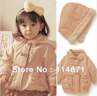 Free Shipping (5pcs/lot) 2013 Winter Baby Girl Warm Coat / Hooded Pink Bow Cotton Padded Kid's Coat / Girl's Winter Outerwear