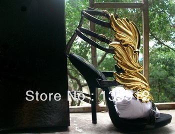 Women fashion heels shoes Alien Hinged Sandals gold-tone wings flutter up vamp fire gz suede platform Buckled ankle straps