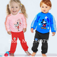Free shipping,Mickey Minnie sports leisure suit boys and girls sets 2pcs sport clothing Kids Suit,baby clothing,5sets/lot