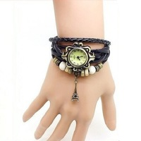 Hot! New Promotional Vintage Eiffel Tower Pendant 100% Hand-Woven Leather Quartz Watch