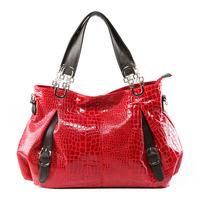 2013 women's handbag cross-body shoulder bag female patent leather crocodile pattern women's japanned leather bags large
