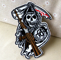 9x13cm JACKET PATCH Skull clothes the mark logo fabric clothes patch stickers embroidery needle Wholesale 100pcs/lot
